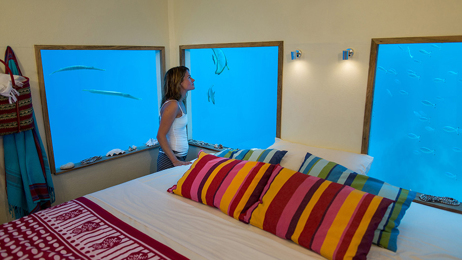 Underwater bedroom under the surface of the Indian Ocean